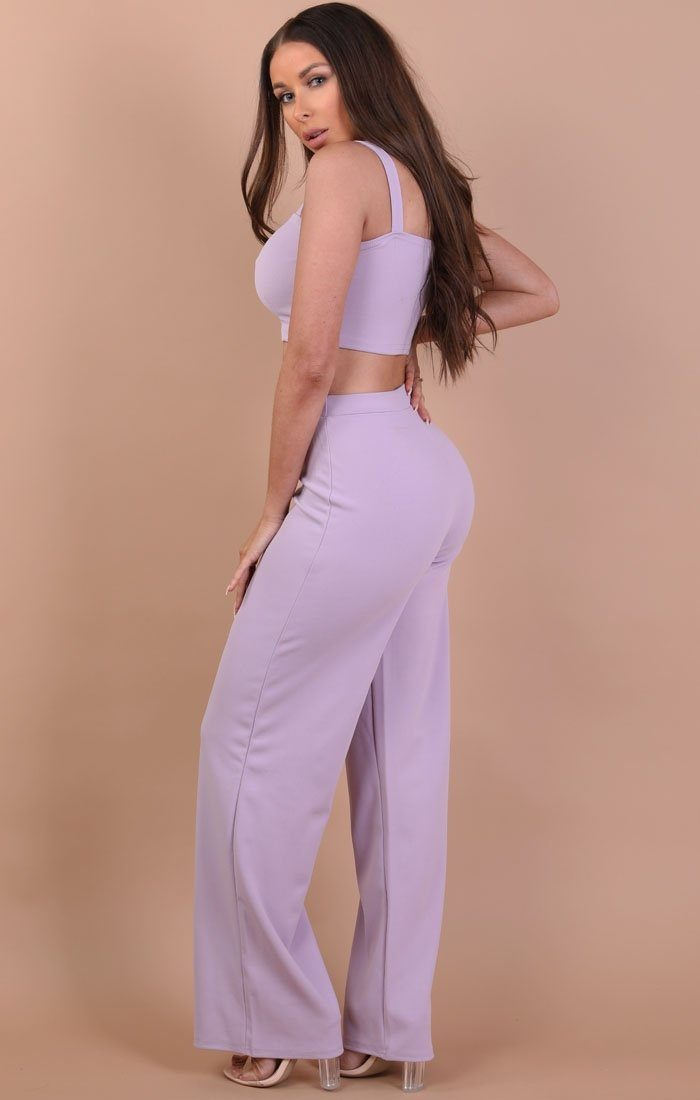 Lilac Crop Top And Trousers Co-ord Set