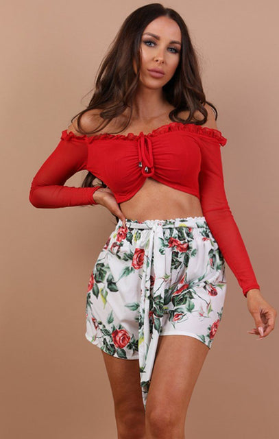 Red Ruched Mesh Sleeve Crop Top - Autumn