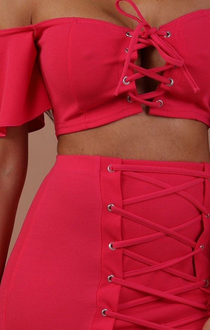 Fuchsia Lace Up Co-ord Set - Charlie