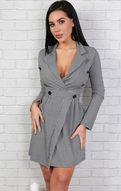 Houndstooth Blazer Dress