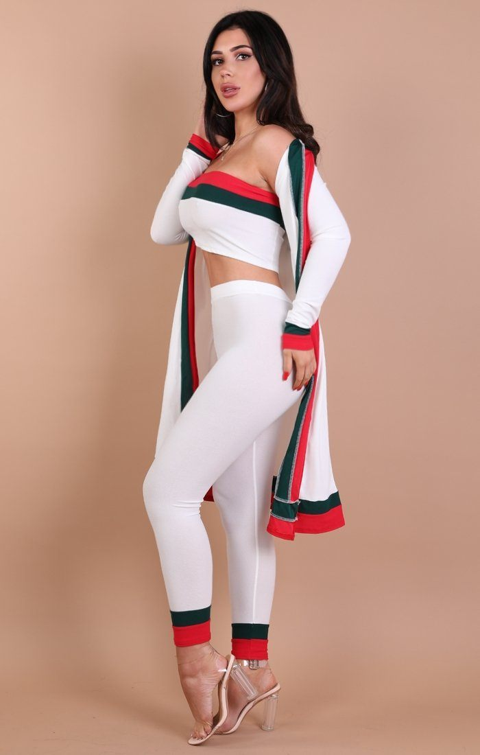 White Red And Green Stripe Leggings – Kimberly
