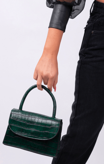 Dark Green Croc Print Square Grab Bag - Claudia