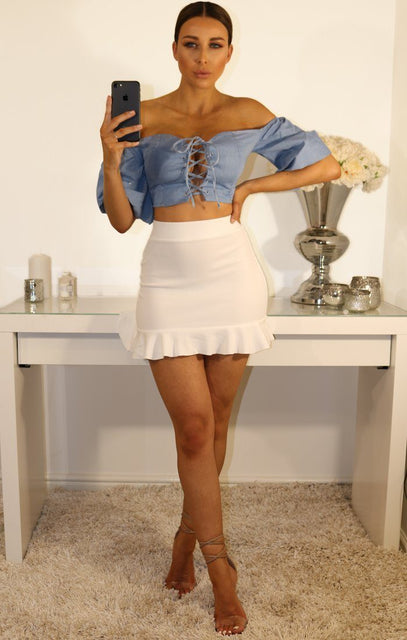 Pale Blue Bardot Lace Up Crop Top