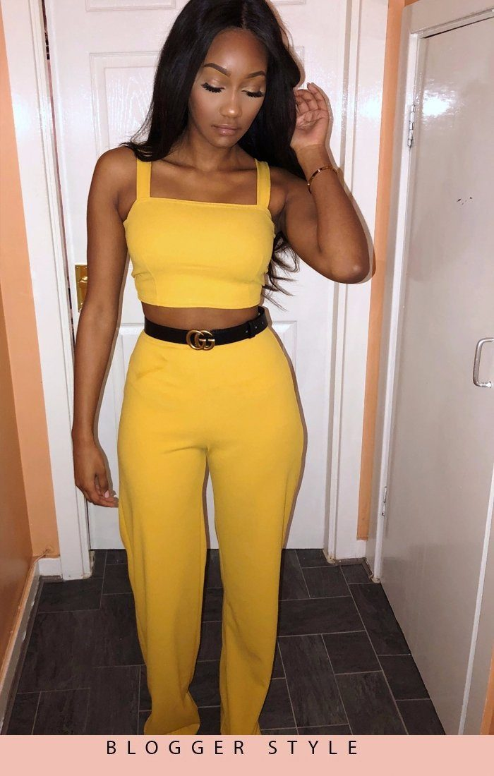 Mustard Crop Top And Trousers Co-ord Set