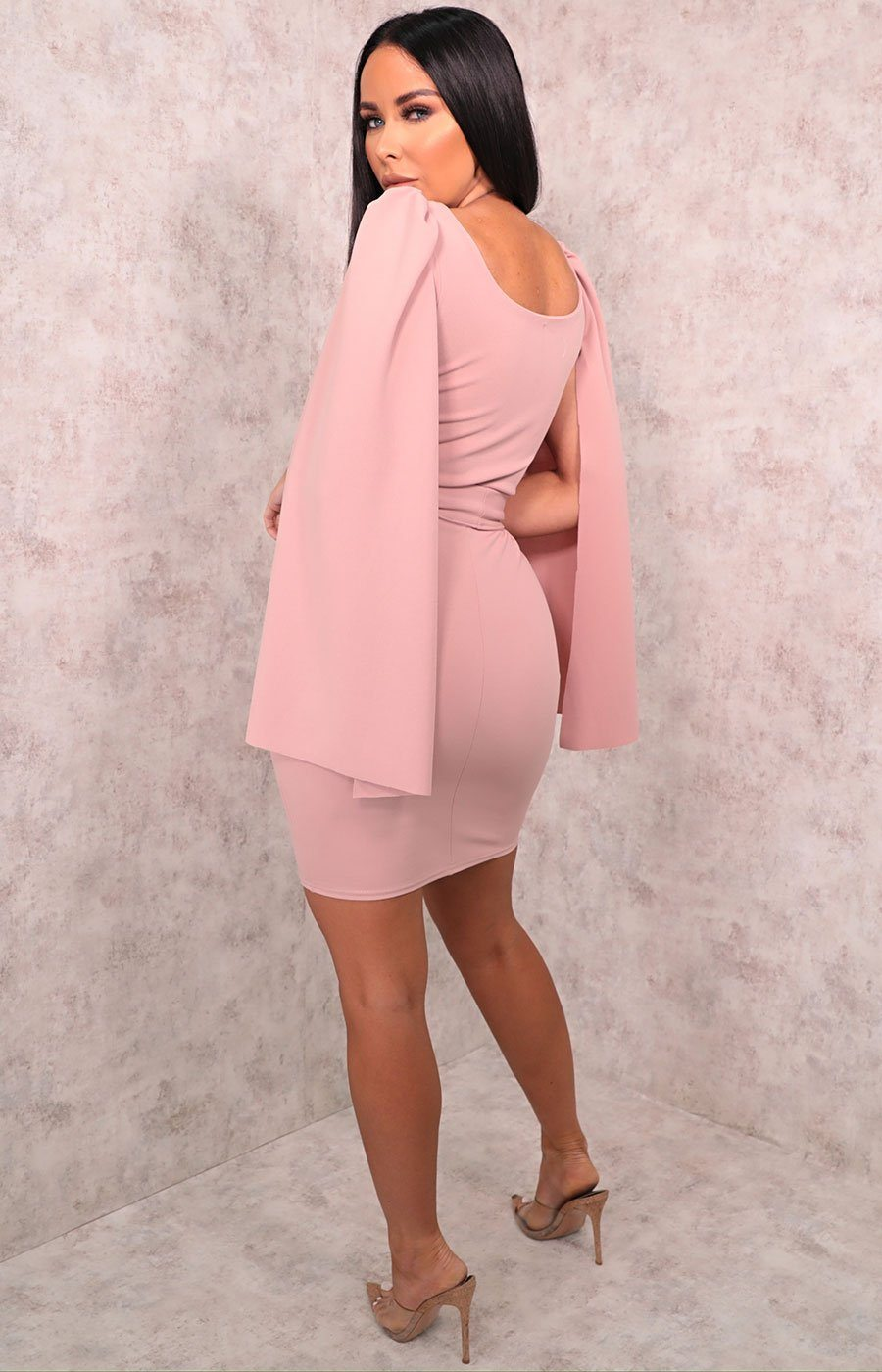 Dusky Pink Extreme Flare Sleeve Belted Bodycon Mini Dress - Aria