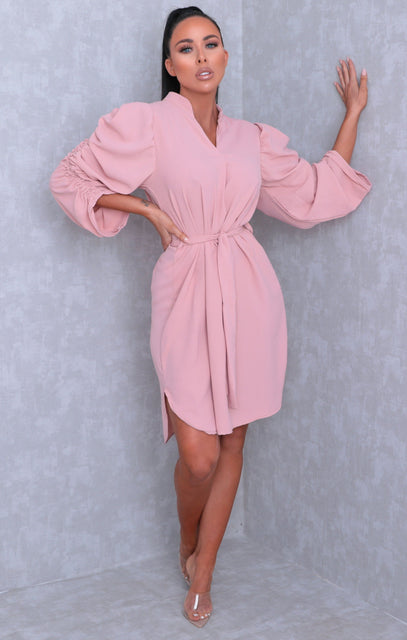 Dusky Pink Ruched Sleeve Belted Bodycon Mini Dress - Lucy