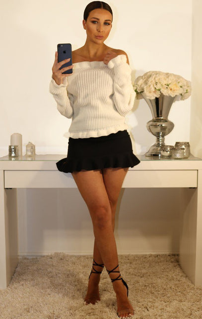 White Frill Detail Knitted Bardot Jumper