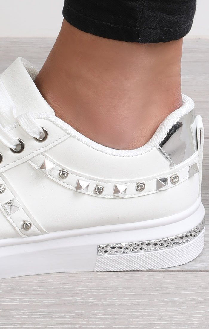 White Studded Diamante Trainers - Charlotte