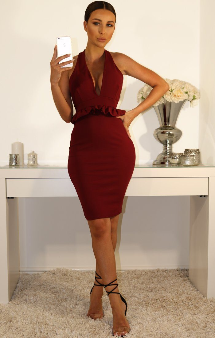 Wine Frill Bodycon Dress