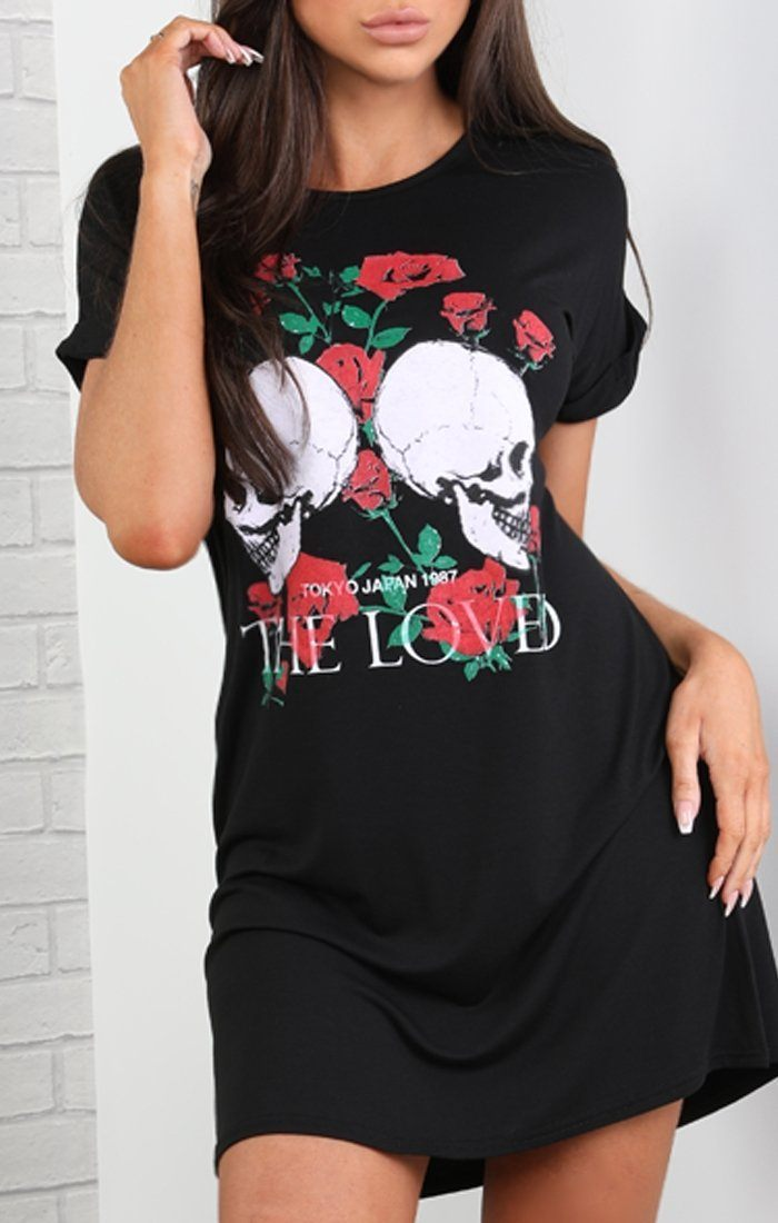 Black Skull Motif T-shirt Dress