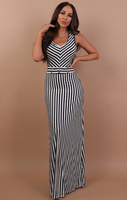 Black Stripe Maxi Dress - Tasha