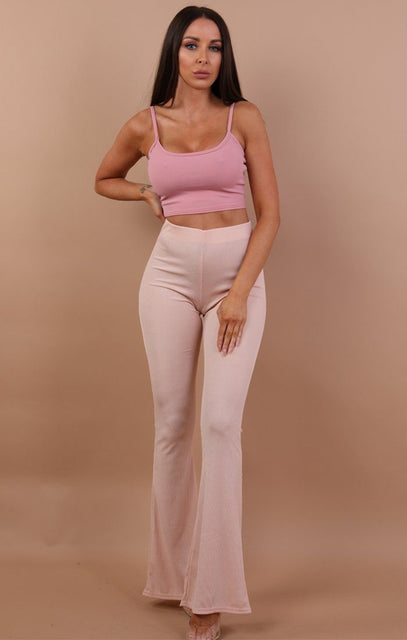 Nude Ribbed Flared Trousers - Ainsley