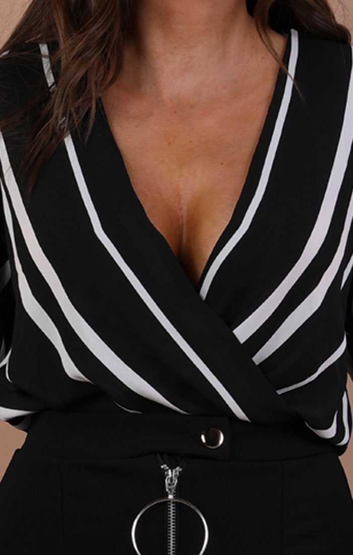 Black And White Striped Shirt Bodysuit – Nala