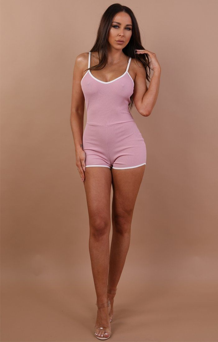 Pink Ribbed Contrast Trim Playsuit - Jayda