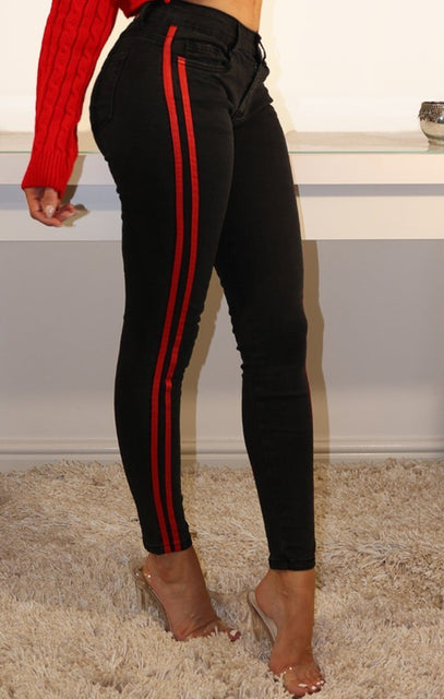 Black Striped Skinny Jeans