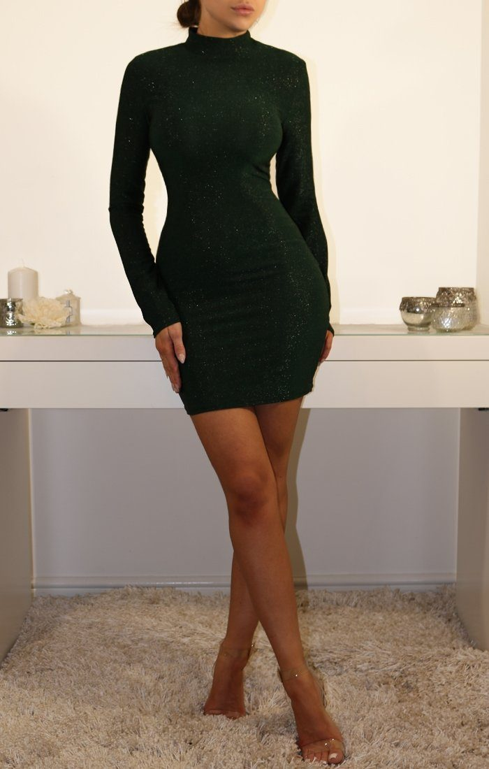 Emerald Glittering Bodycon Mini Dress