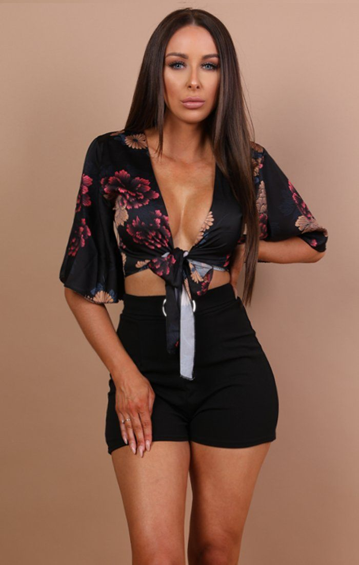 Black Floral Satin Crop Top - Sammie