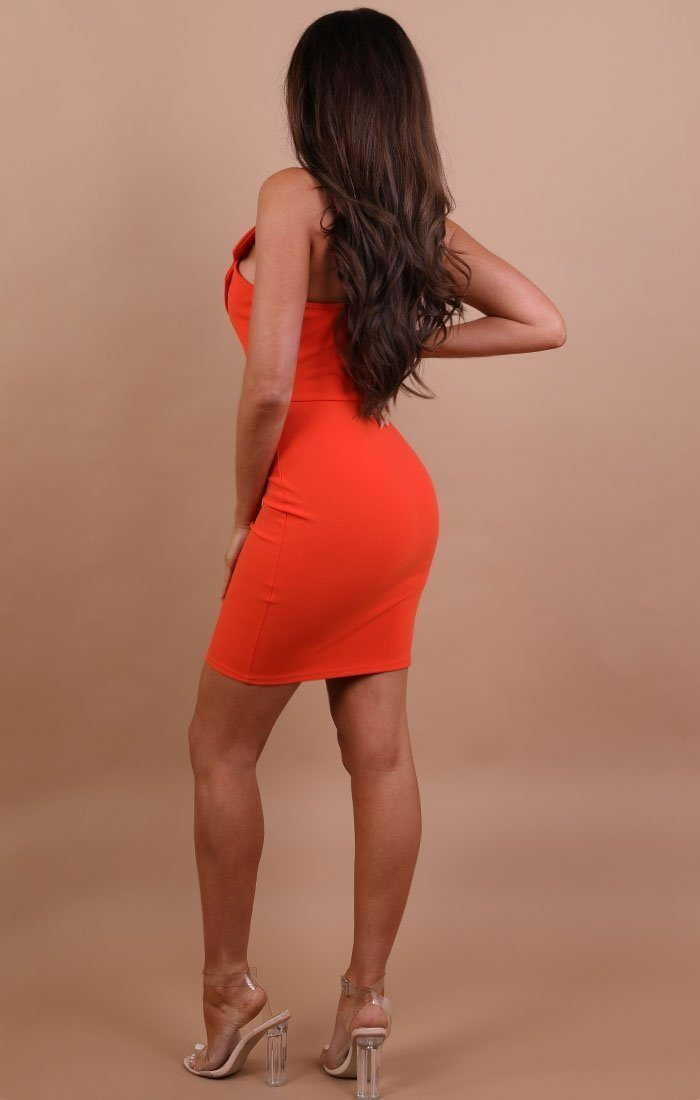 Orange Collared Bodycon Mini Dress - Nina