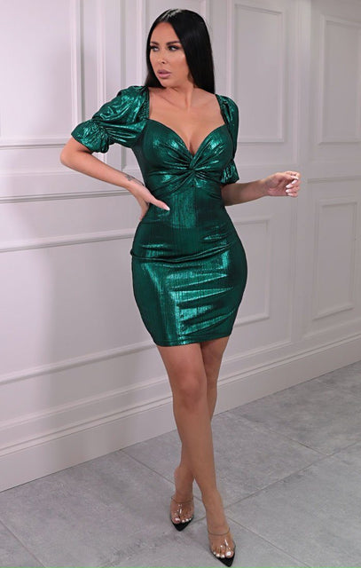 Emerald Green Metallic Puff Sleeve Twist Front Mini Dress - Emily