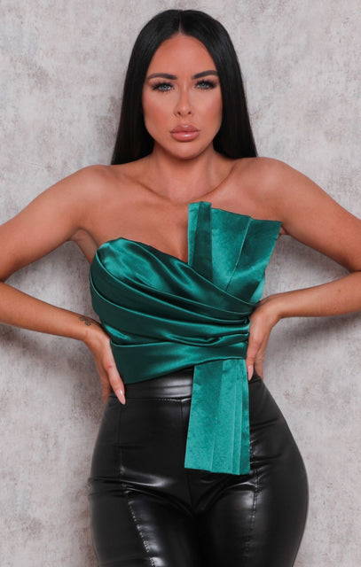 Emerald Satin Pleated Strapless Bodysuit - Ashby