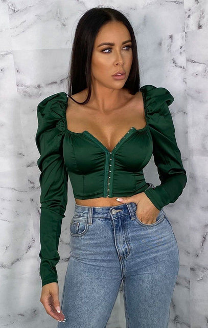 Emerald Satin Puff Sleeve Corset Top - Gracelynn