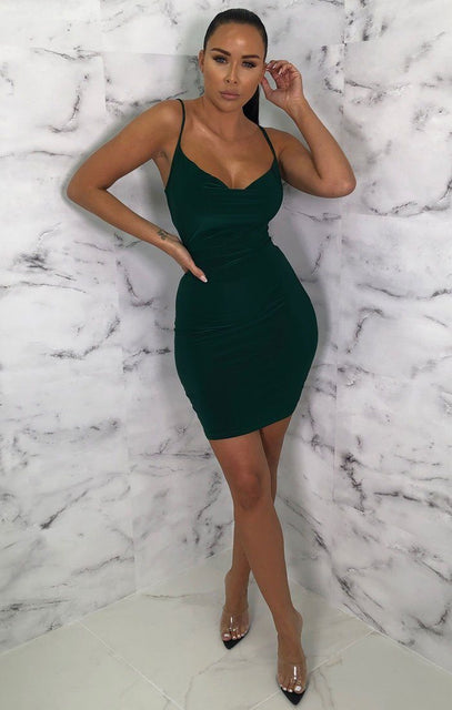 Emerald Slinky Cowl Neck Mini Dress - River