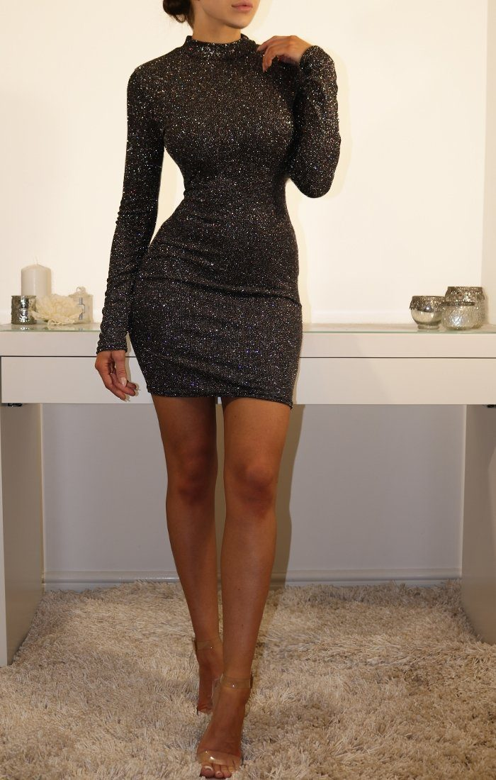 Black Glittering Bodycon Mini Dress