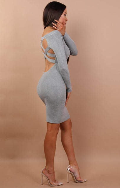 Grey Open Back Bodycon Mini Dress