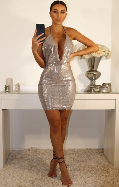 Kendal Silver Cowl Neck Sequin Dress