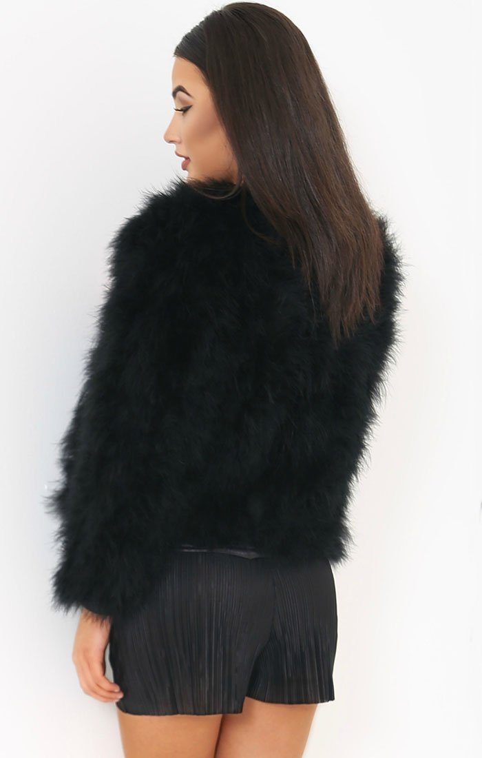 Black Ostrich Feather Long Sleeve Coat