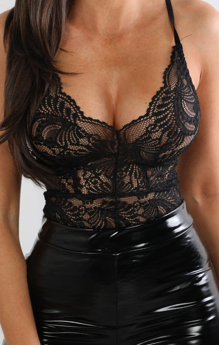 Black Floral Sheer Lace Bodysuit