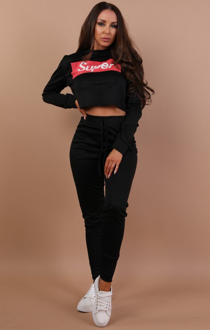 Black Cropped Super Print Loungewear Set - Kimmy