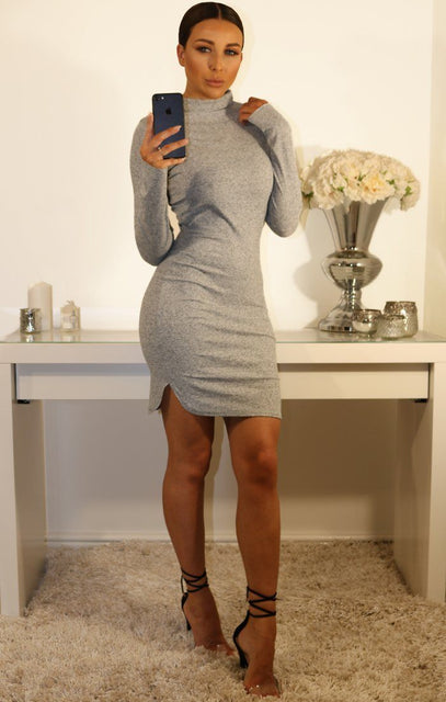 Grey High Neck Jumper Dress