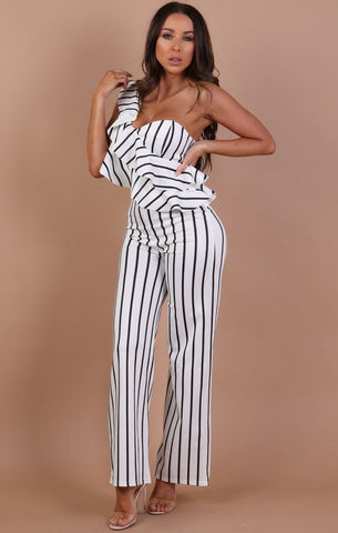 Black & White Stripe Jumpsuits
