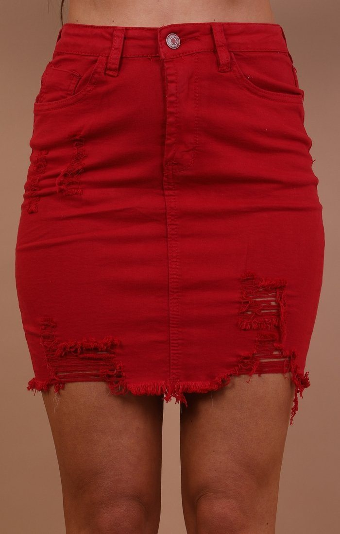 Red Denim Mini High Waist Skirt - Ruby