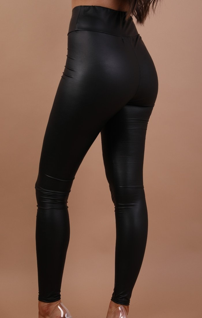 Black Pu High Waisted Legging - Nicki
