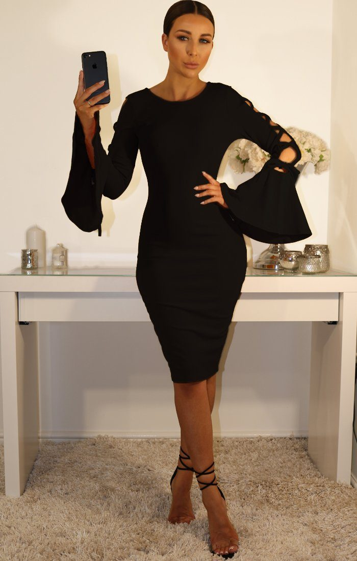 Black Bell Sleeve Tie Arm Midi Dress