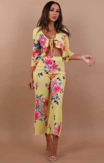 Yellow Floral High Waist Cropped Trousers - Paisley
