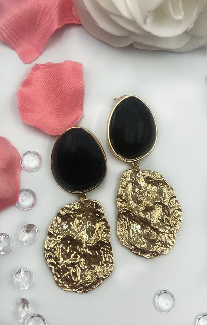 Gold & Black Textured Drop Earrings - Matilda