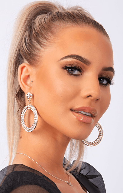 Gold Circle Drop Diamante Earrings - Bobbi