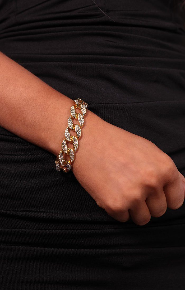 Gold Diamante Chunky Chain Link Bracelet - Ramsey