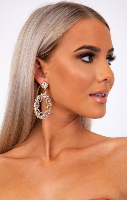 Gold Diamante Circle Drop Earrings - Abs