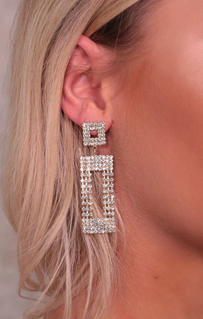 Gold Diamante Rectangle Drop Earrings - Jenny