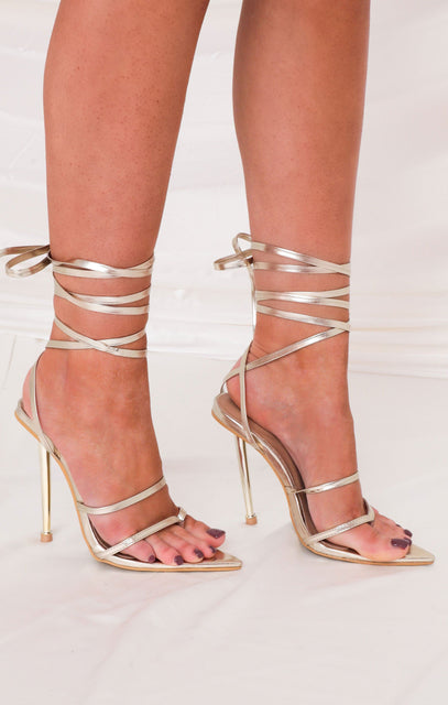 Gold Faux Leather Pointed Lace Up Heels - Matilda