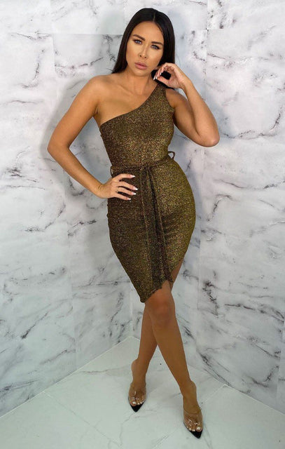 Gold Glitter One Shoulder Belted Bodycon Mini Dress - Anastasia