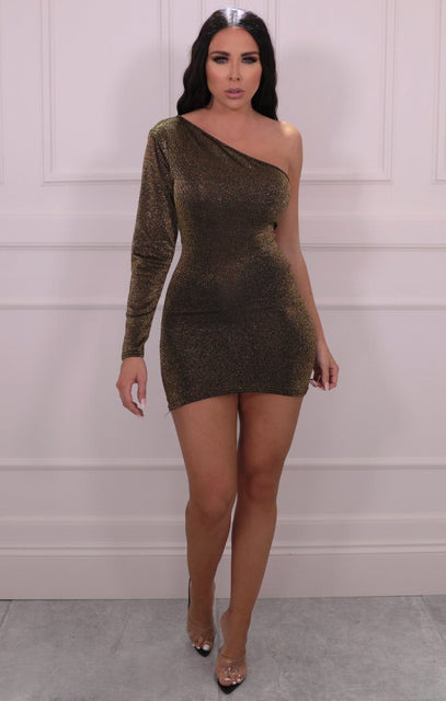 Gold Glitter One Shoulder Bodycon Mini Dress - Mariah