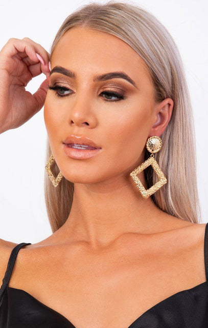Gold Hammered Drop Earrings - Inez