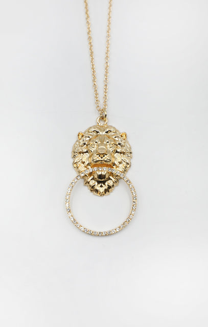 Gold Lions Head Pendant Necklace - Azlan