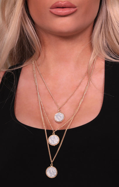 Gold Marble Triple Layered Necklace - Suzy