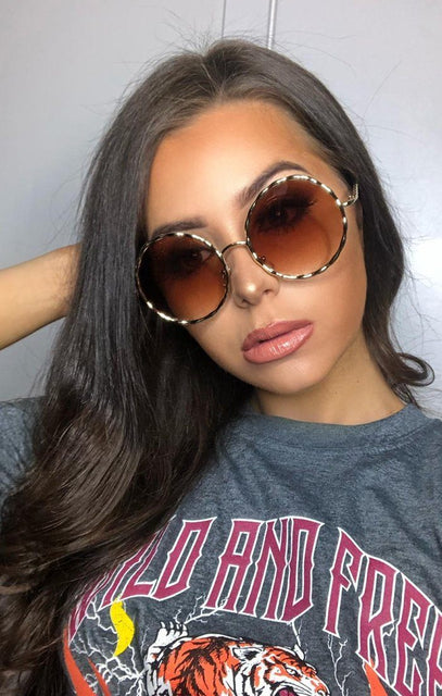 Gold Round Tinted Sunglasses - Damita